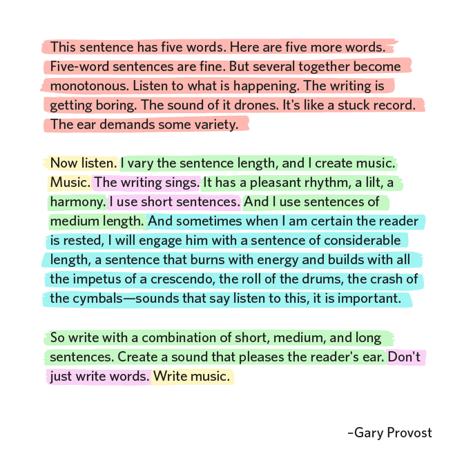Gary Provost Vary Sentence Length